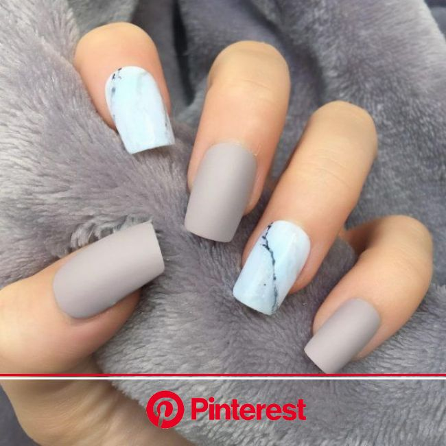 Taupe Matte Marble Short Square | Short acrylic nails designs, Square nail designs, Square nails