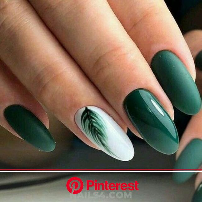 New Green Color for Nails This Season in 2021 | Cute gel nails, September nails, White gel nails