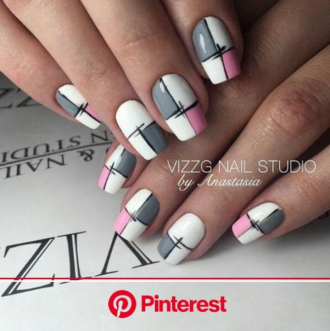 @pelikh_Маникюр   Видео уроки   Art Simple Nail   Plaid nail art, Trendy nail art designs, Nail art