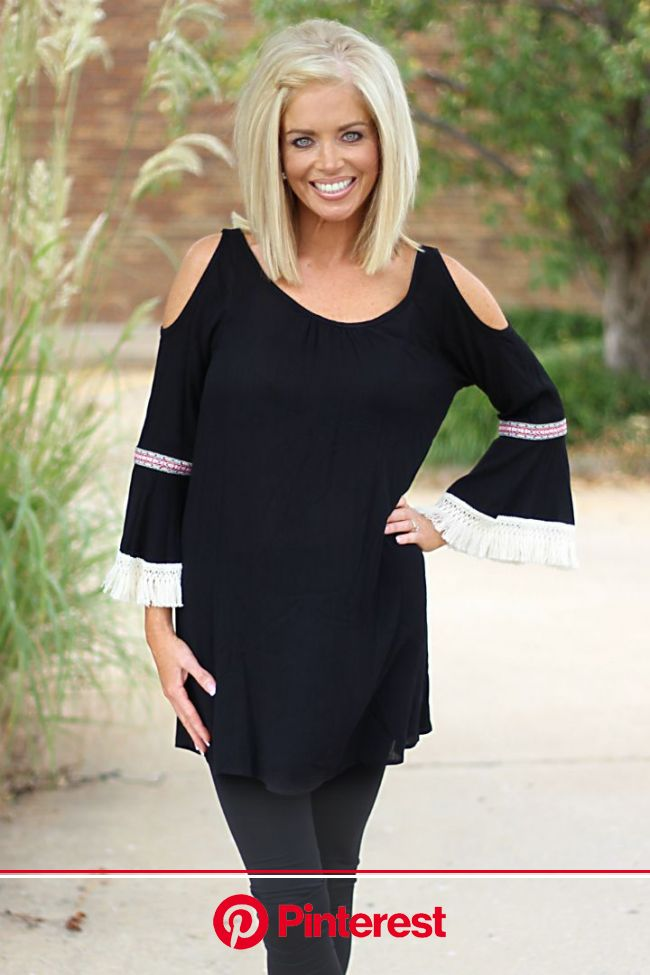 Dream a Dream Boho Tunic with Open Shoulders ~ Black - One Faith Boutique | Medium layered haircuts, Kim hair, Faith fashions