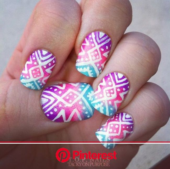 Pin by Kiersten McSharry on Makeup & Beauty | Tribal nails, Aztec nails, Nail designs