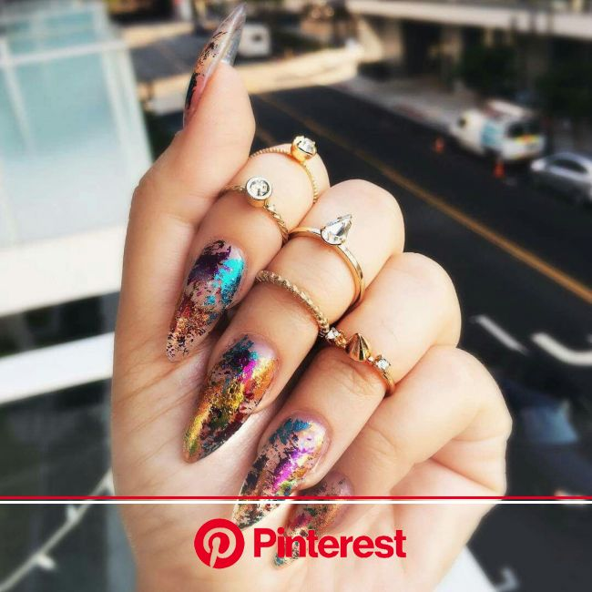 15 amazing foil nails for long and short manicures - stylishwomenoutfits.com | Splatter nails, Foil nails, Luxury nails