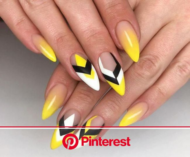 Manicure Geometric Nail Art Ideas | Yellow nails design, Yellow nail art, Geometric nail art