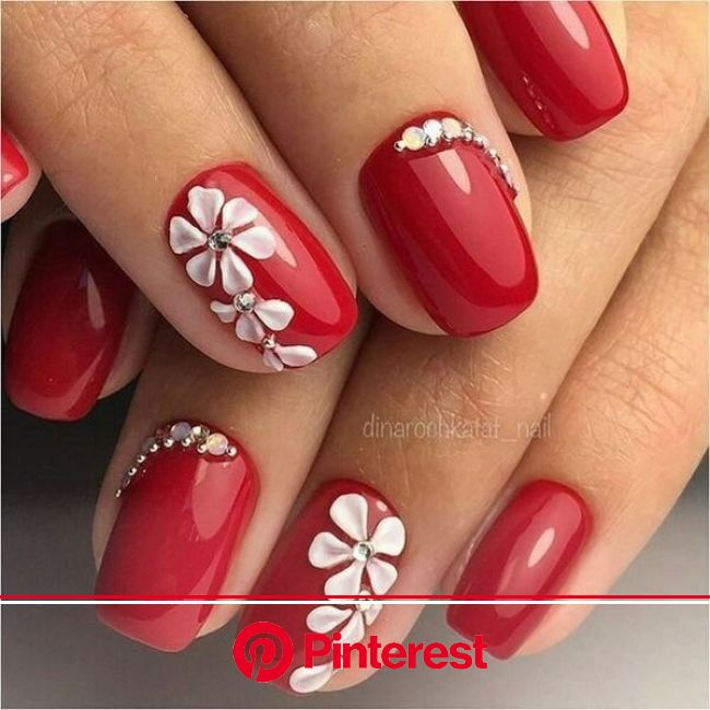 Image about beauty in Nail Art Designs by Lucian | Red acrylic nails, Red nail art designs, Floral nails