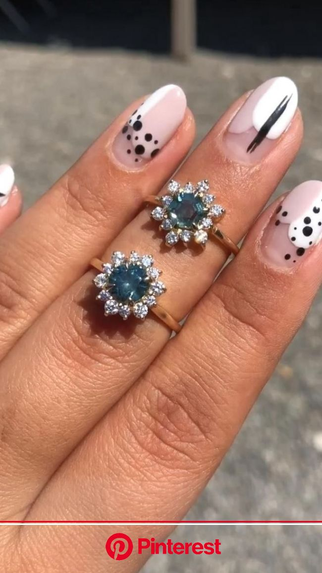 Valerie Madison | Blue Sapphire & Diamond Halo Engagement Rings in 2021 | Glamorous nails, Stylish nails, Gel nails