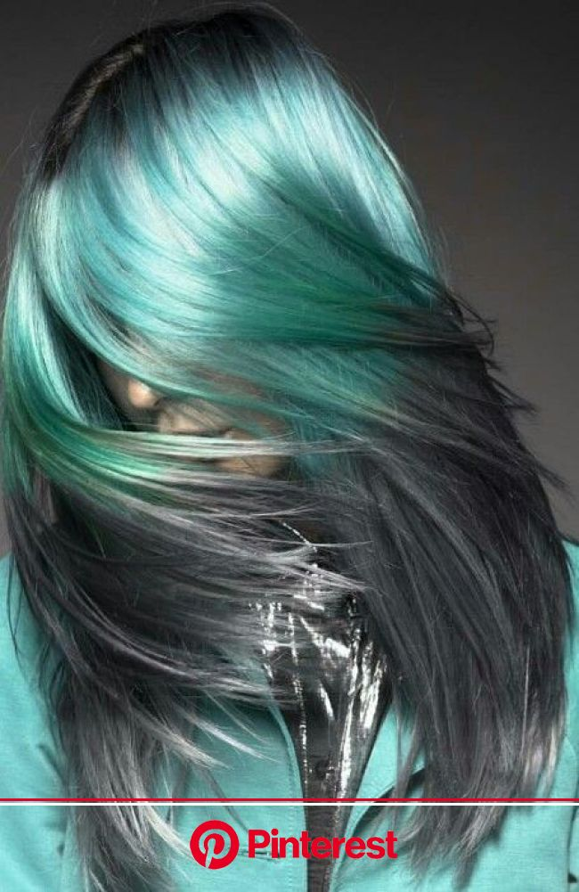Turquoise blue/gray ombre dyed hair color ~ daryna_barykina | Summer hair color, Hair styles, Green hair
