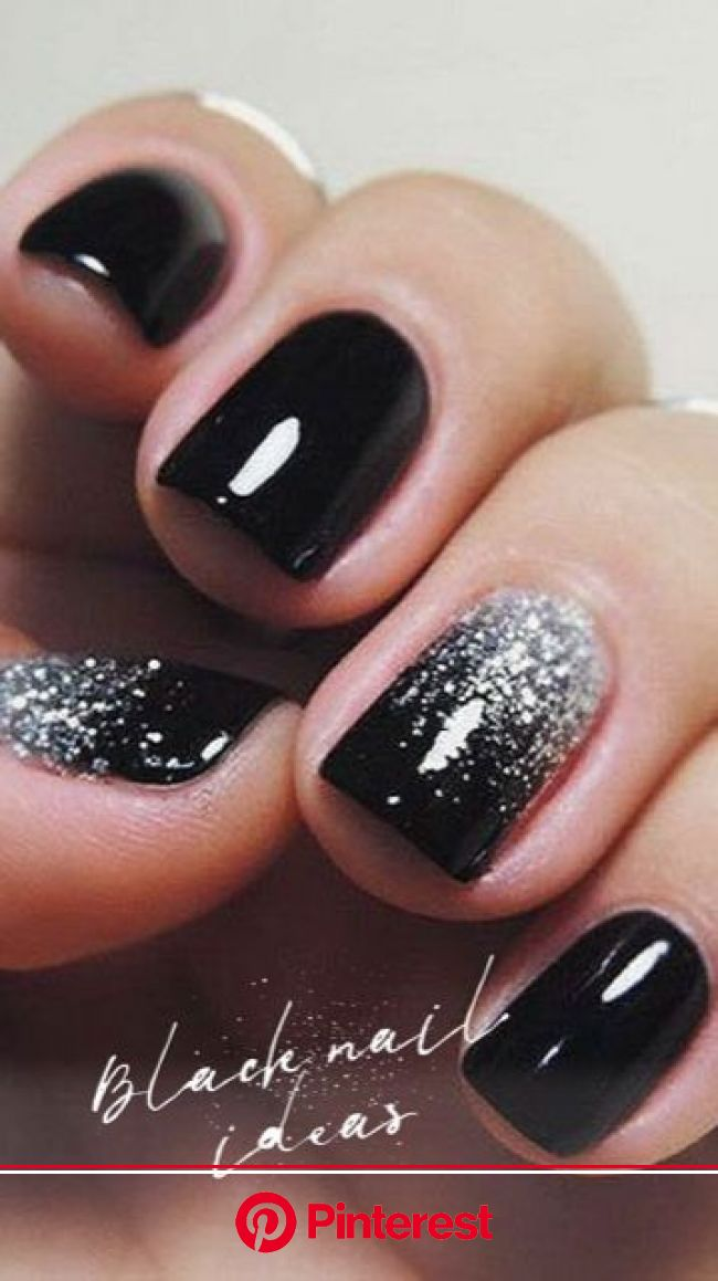 Black nails ideas | Bunnies | Beauty | Photoshoot | All the stuff I care about | Nail designs glitter, Classy nails, Black nails with glitter