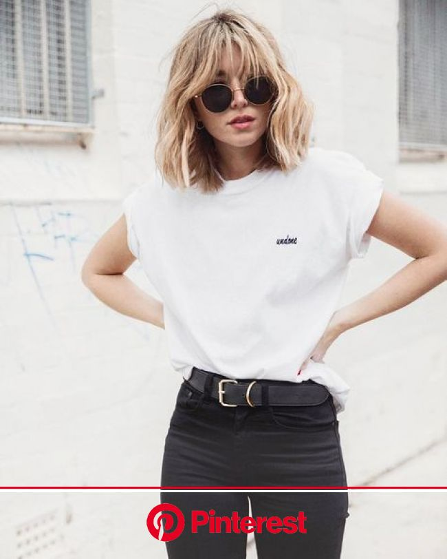 White shirt tucked in high waist black jeans | Cooler style, Outfit, Tuch