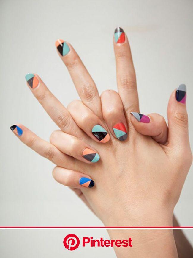 A Dozen Ways to Wear Color Block… On Your Nails! | Geometric nail, Geometric nail art, Pretty nails