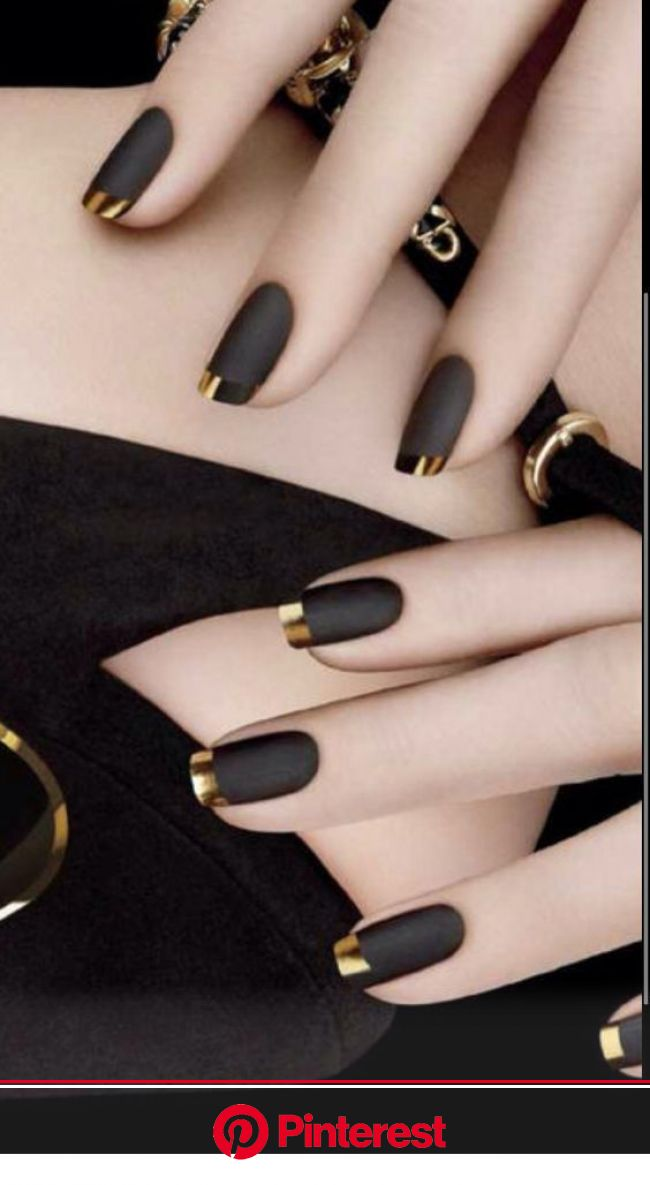 Black nails and gold tips - nail art | French oje, Oje fikirleri, Parıltılı ojeler
