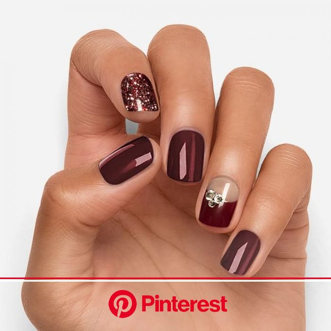 Guilty Pleasures - Medium in 2020 | Fall gel nails, Fall nail art designs, Burgundy nail designs