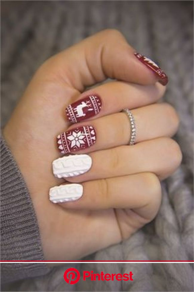 Sweater Weather Nail Art | Sweater nails, Christmas nail art designs, Trendy nails