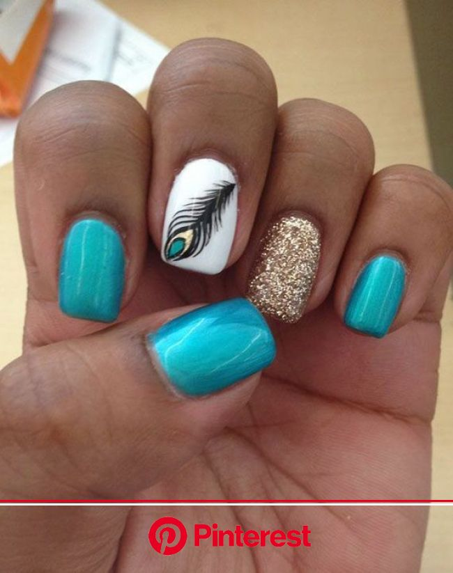Nail art: 19 of the most amazing manicures on Pinterest. | Feather nails, Simple nails, Peacock nails