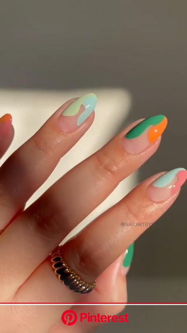 Abstract Swooshy Frenchies [Video] in 2021 | Stylish nails, Funky nails, Simple nails