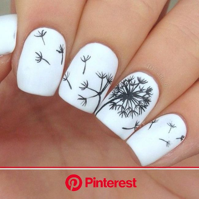 60 Examples of Black and White Nail Art | Dandelion nail art, Floral nail art, White acrylic nails