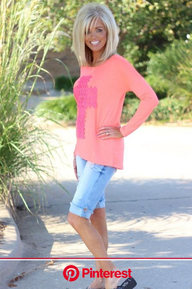 Neon Coral & Pink Cross Crochet Lightweight Top | Trendy boutique clothing, Short hair with layers, Grey hair styles for women