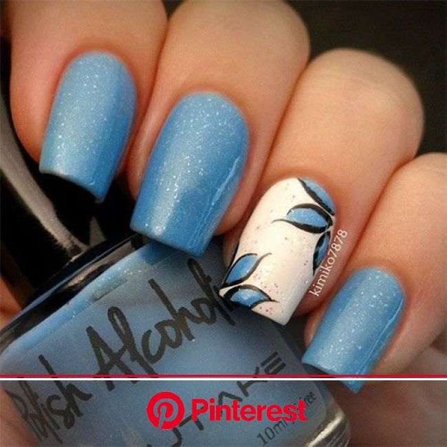 40 Gorgeous Fall Nail Art Ideas To Try This Fall | EcstasyCoffee | Blue nail art, Nail art, Easy fall nails