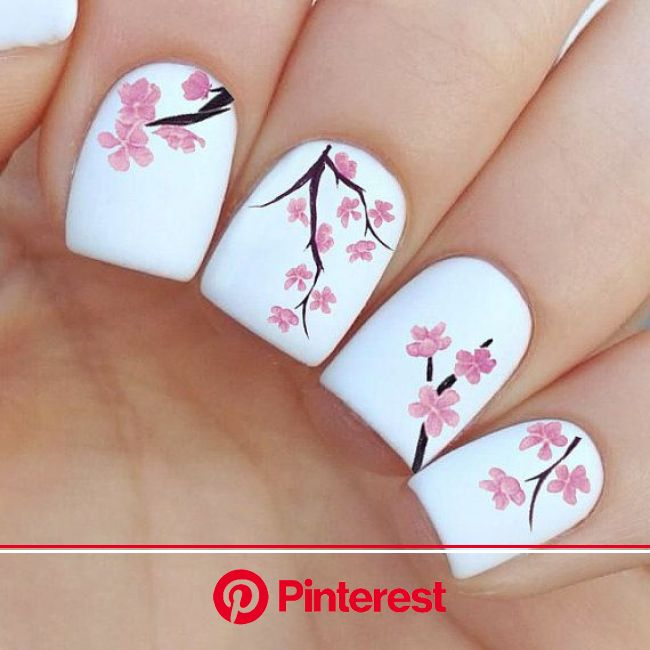 Cherry Tree Nail Decals | Simple nail art designs, Spring nail art, Flower nails