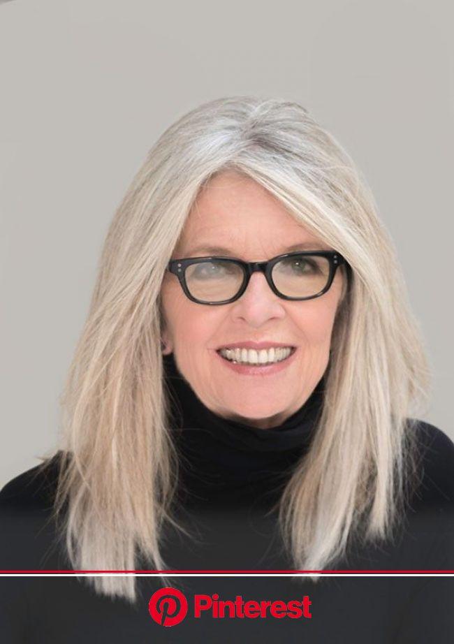 Diane Keaton   Hair styles, Long gray hair, Grey hair and glasses